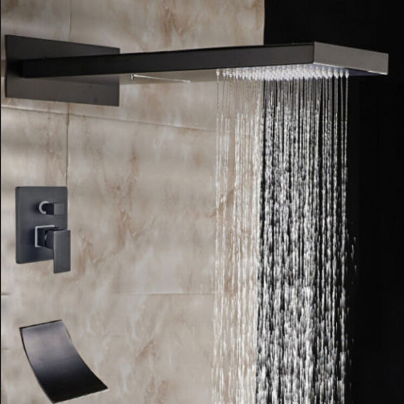 Wholesale And Retail Luxury Waterfall Rainfall Bathroom Shower Faucet Oil Rubbed Bronze Valve Mixer Tap Waterfall Spout Mixer wholesale and retail oil rubbed bronze waterfall spout bathroom faucet sink mixer tap
