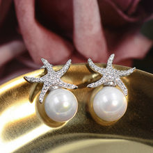 Free Shipping Korean Ladies Elegant Zircon Starfish Pearl Earrings S925 Sterling Silver Fashion Jewelry(China)