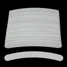 50Pcs Curved Grau Nagel Dateien Buffer 100/180 Banana kalk eine ongle Professionelle Nägel Datei Schleifpapier Doppel Seite Polieren Datei werkzeuge