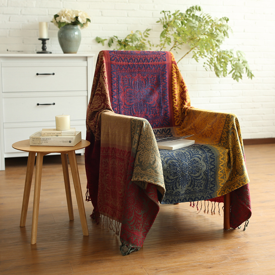 Spring Summer Retro Sofa Cover Boho Chenille blanket Decorative Slipcover Throws on Plane Travel Floral Knitting