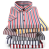 Colored Red Navy Blue Yellow Summer Brand Casual Slim Fit Male Vertical Striped Shirt Men Non Iron Design