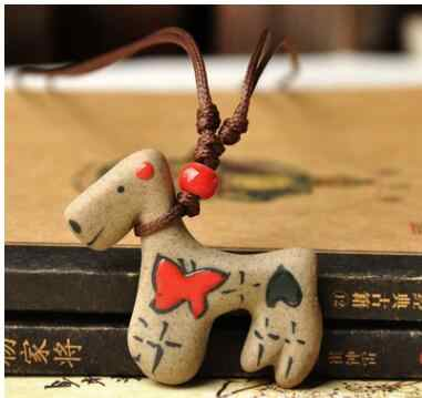Cartoon handicraft ceramic necklace features lovely men and women fashion models jewelry with cute horses