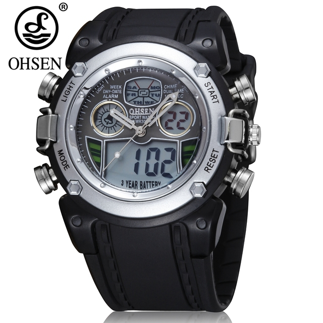 OHSEN Brand Sports Digital Quartz Wristwatches Boys Children 30M Waterproof Silicone Band Silver Fashion LED Kids Watches Gifts