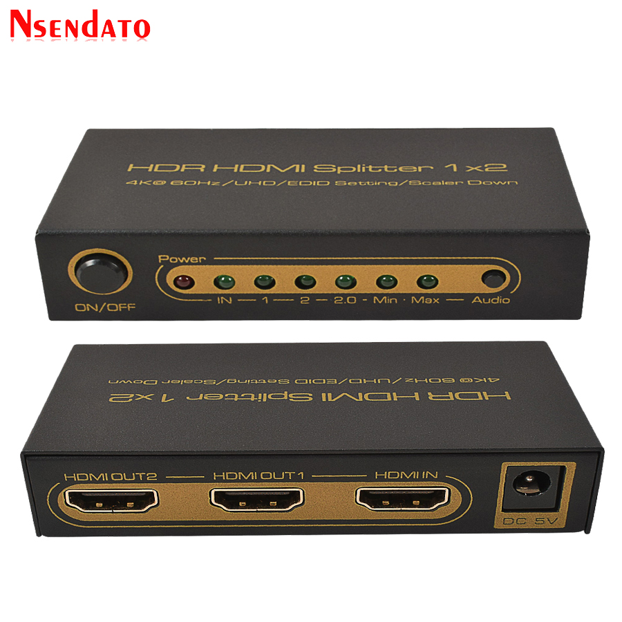 HDR HDMI 2.0 Splitter 1X2 4Kx2K 60Hz 1 In 2 Out HDMI Switch Converter with Power adapter For DTS Dobly 3D 1080p 4K HDTV Monitor цена и фото