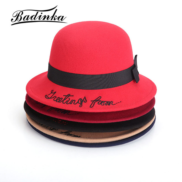 Badinka 2017 New Women Autumn Winter Embroidered Letter Fedora Hat Girls  Casual Solid Color Felt Bowler Bucket Hat Chapeau Femme cd3e044ff69