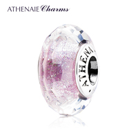 ATHENAIE Genuine Murano Glass 925 Silver Core Light Purple Faceted Fascinating Iridescence Charms Bead Fit European