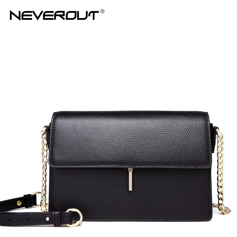 NeverOut Brand Women Flap Bag Genuine Leather Shoulder Sac Bags Solid Luxury Design Crossbody Bag Ladies Evening Messenger Bags neverout new crossbody handbag women messenger bag cover small flap bags fashion shoulder bags simply style genuine leather bag