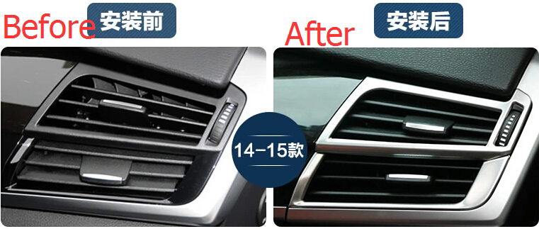 For BMW X5 F15 2014 2015 2016 Stainless Steel Air Conditioning Vent Decorative Frame Cover Trim 4 Pcs / Set Interior MoLdings 2014 2015 for bmw x5 f15 interior auto decoration trim stainless door inner handle bowls cover trims matte 4pcs