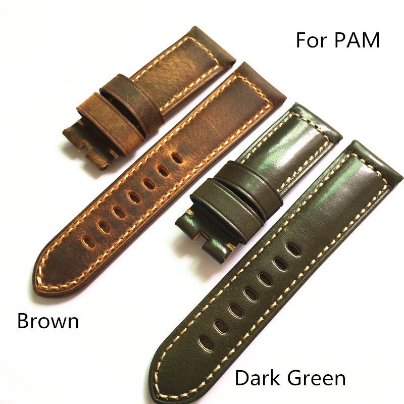 LUKENI 24mm 26mm Brown Green Italy Genuine Leather Vintage Watch Strap Watchband For PANERAI Pam With Word Without Buckle все цены