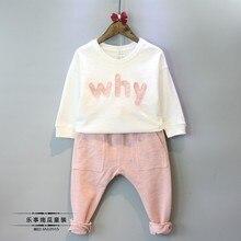2016 Marque De Mode Bébé Fille Vêtements Ensembles Filles Vêtements Ensembles enfants Filles Vêtements Lettre t-shirt + harem pantalon Ensemble costume