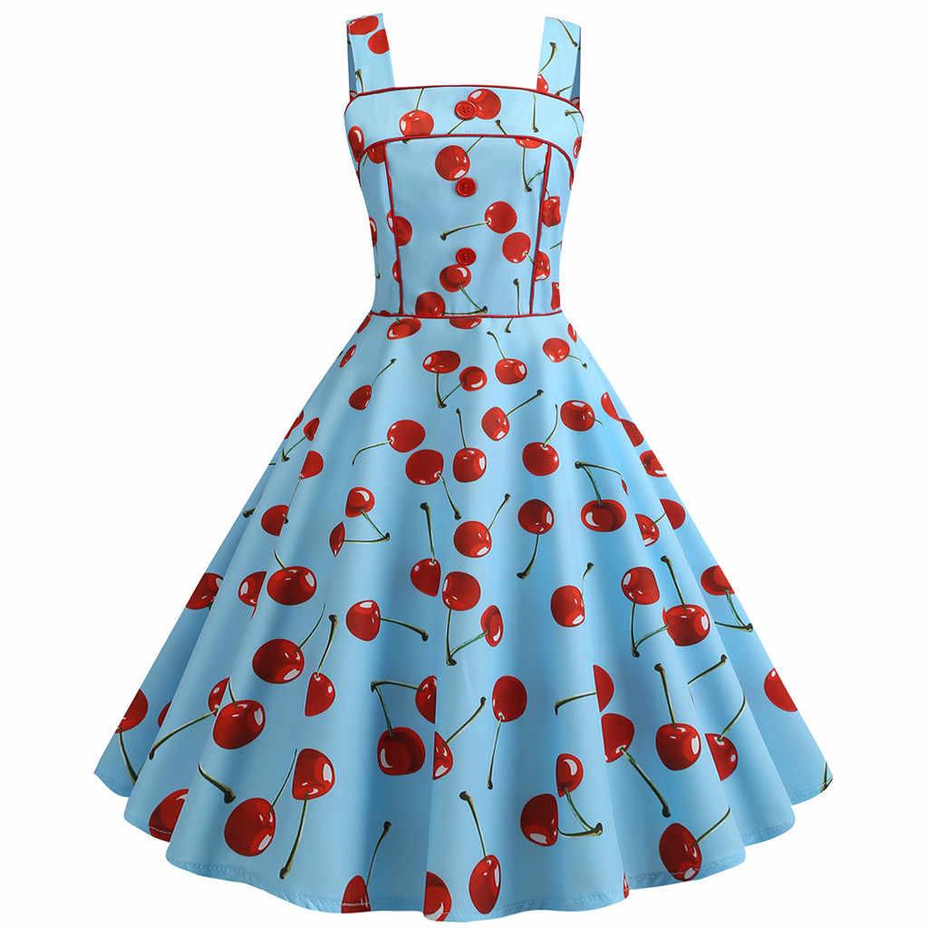 JAYCOSIN женское винтажное платье элегантные женские без Рукавов Плиссированные Слинг вишня клубника печати талии Slash шеи платья Vestidos