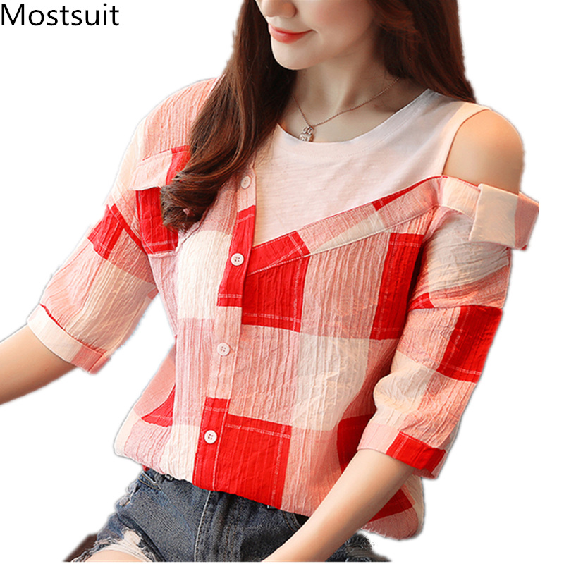 2019 Summer Fake Two Pieces   Blouses     Shirts   Women Plus Size Plaid Striped Half Sleeve Shoulder Open Casual Office Korean Blusas