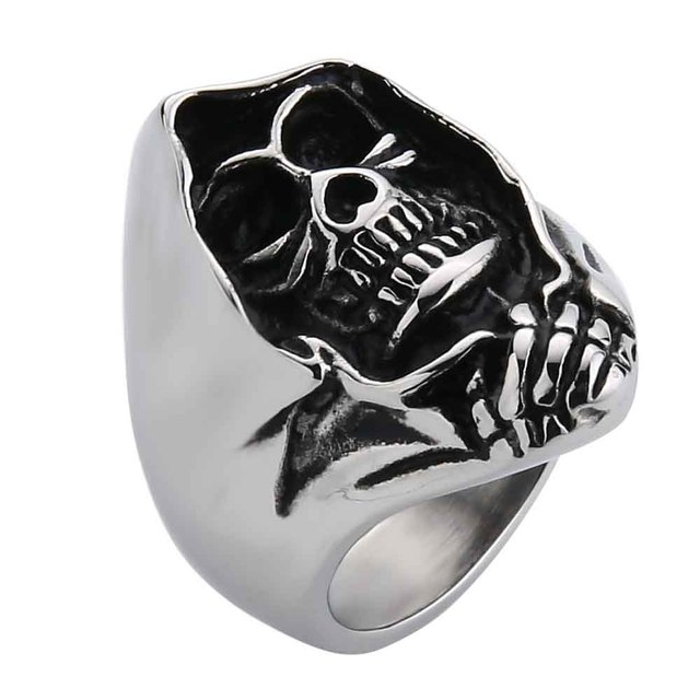 398edb78963459 Wholesale Cheap Cool Hell Death Skull Ring Man Never Fade Punk Biker Man's  High Quality Ring