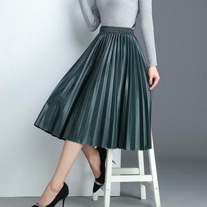 Image 5 - Surmiitro PU spódnica kobiety 2019 jesienno zimowa Midi długi koreański elegancki plisowana wysokiej talii skórzana spódnica kobiet linia spódnica biurowa