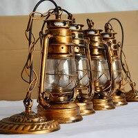 Color de Bronce antiguo Retro de La Vendimia nostálgica lámpara de queroseno linterna de luz colgante de bar puerta de entrada de la lámpara E27 base de la lámpara