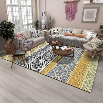 EHOMEBUY kwadratowy dywan antypoślizgowy styl boho wzór geometryczny dywan do składania domowy dywan do salonu ochrona na podłogę do sypialni tanie i dobre opinie Simple Modern Europa Maszyna wykonana Prostokąt Plaid Dekoracyjne Hotel Sypialnia Domu Living Room Perski Polar tkanina