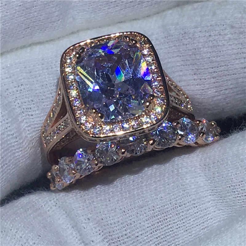 Choucong คนรักแหวนชุดตัด 8ct ล้าง 5A zircon CZ Rose Gold Filled 925 เงินแหวนสำหรับสตรี
