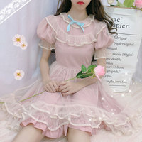Japanese Lolita Dress women Kawaii 2019 summer soft sister wind sweet puff sleeve layer mesh gown fairy dress cute