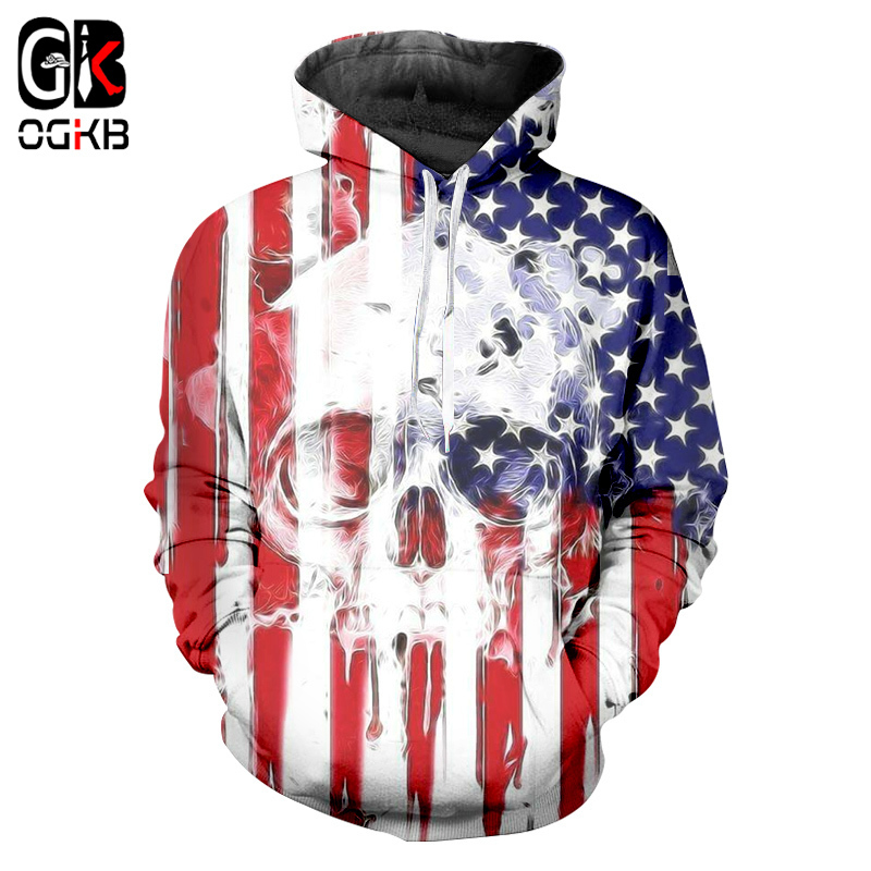 Skull American Flag Printing Sweatshirt Hip Hop Autumn Winter Zipper Pullovers