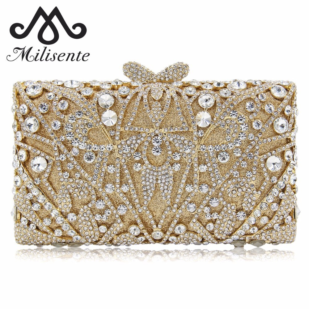 Milisente Ladies Evening Bags Crystal Clutches Luxury Women Clutch Female Wedding Bag Party Purse colourful bird women evening luxury bags crystal clutches laides evening bag female party hard case bags wedding clutch purses