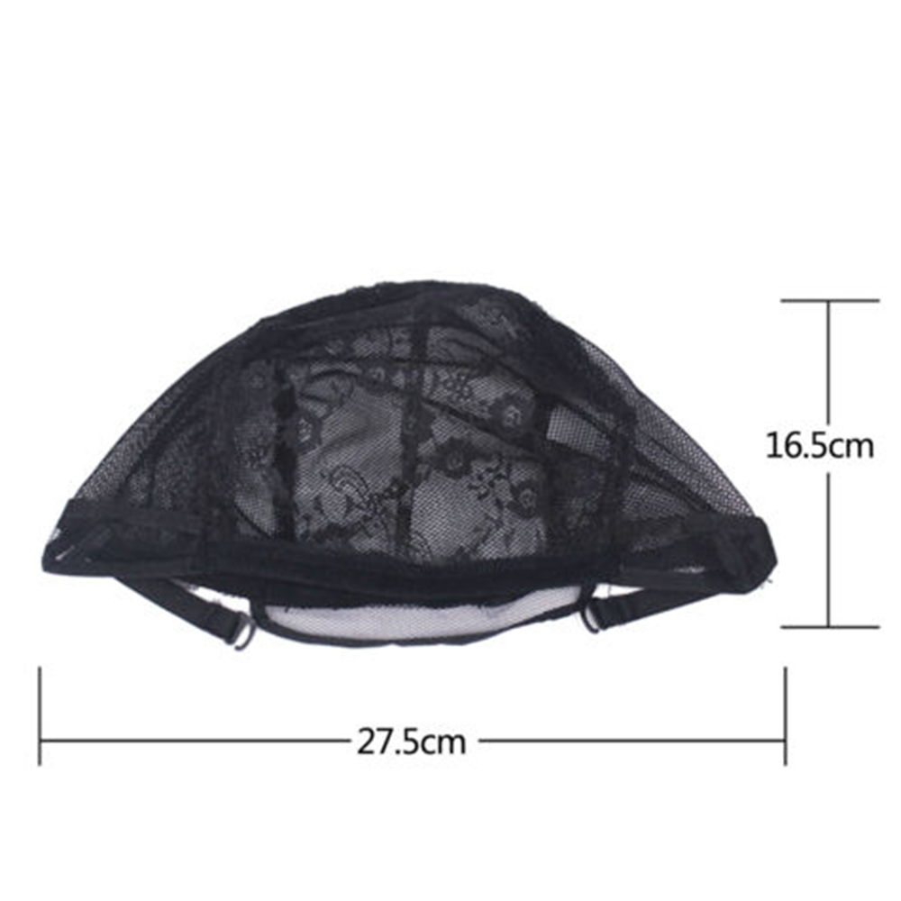 Lace black Wig Cap Hair Net For Making Wigs Hair adjustable Straps Stretch  Weaving Mesh Ladies Elastic hairnets Full size