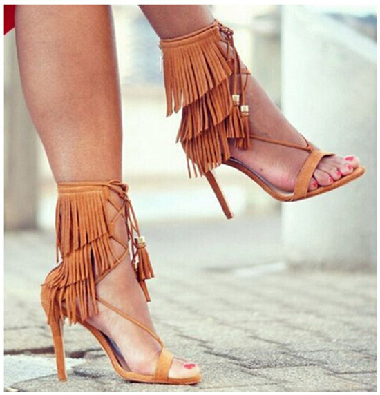 24a2cf46bc96 Black White Suede Ankle Tie Lace Up Fringe Sandals High Heels Tassel  Gladiator Sandals Women Shoes Woman Summer Style Sandalias