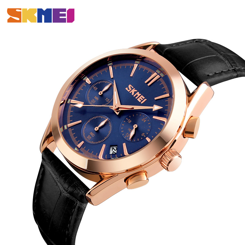 SKMEI Men Quartz Watches Luxury Band Fashion Casual Wristwatches 30M Water Resistant Complete Calendar Leather Watch Man 9127