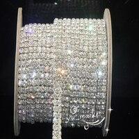 Free Shipping 2 Row Clear 4mm Crystal Rhinestone Trims Close Chain Silver Cake Ribbon Trim 1