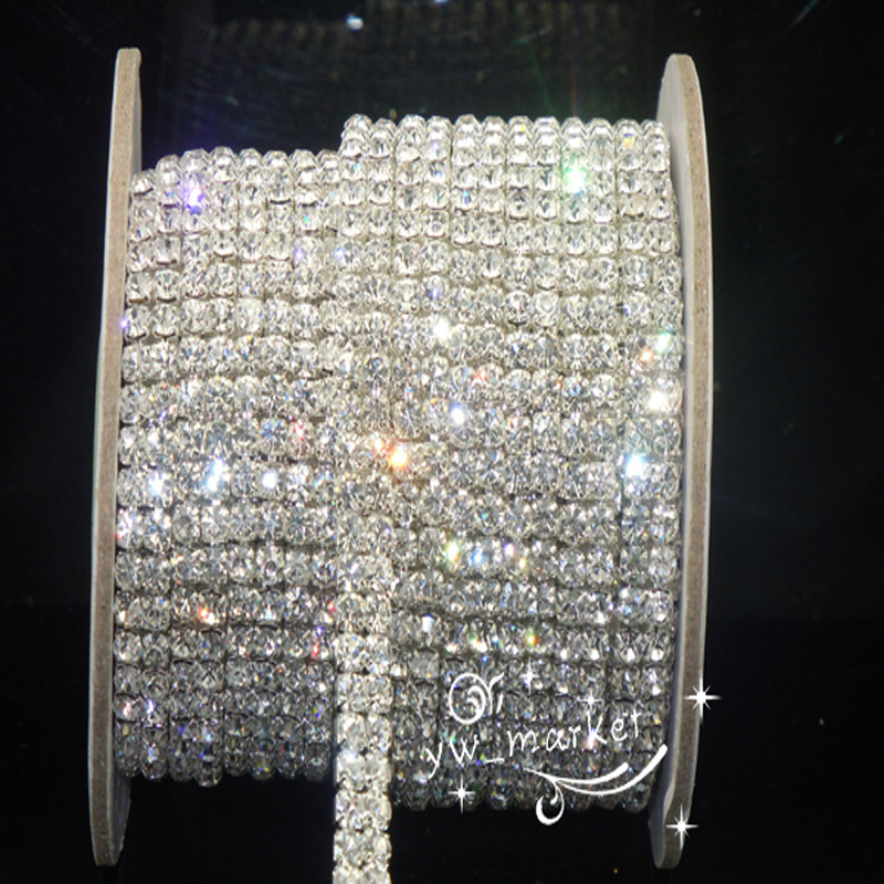 1 Yard 2row Crystal Rhinestone Trim Klar Close Chain Silver Cake Ribbon Costume Kjole sy på