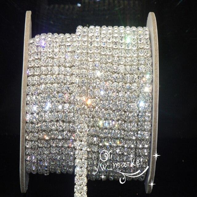 1 Yard 2row Crystal Rhinestone Trim Clear Close Chain Silver Cake Ribbon  Costume Dress sew on d0309509eca3