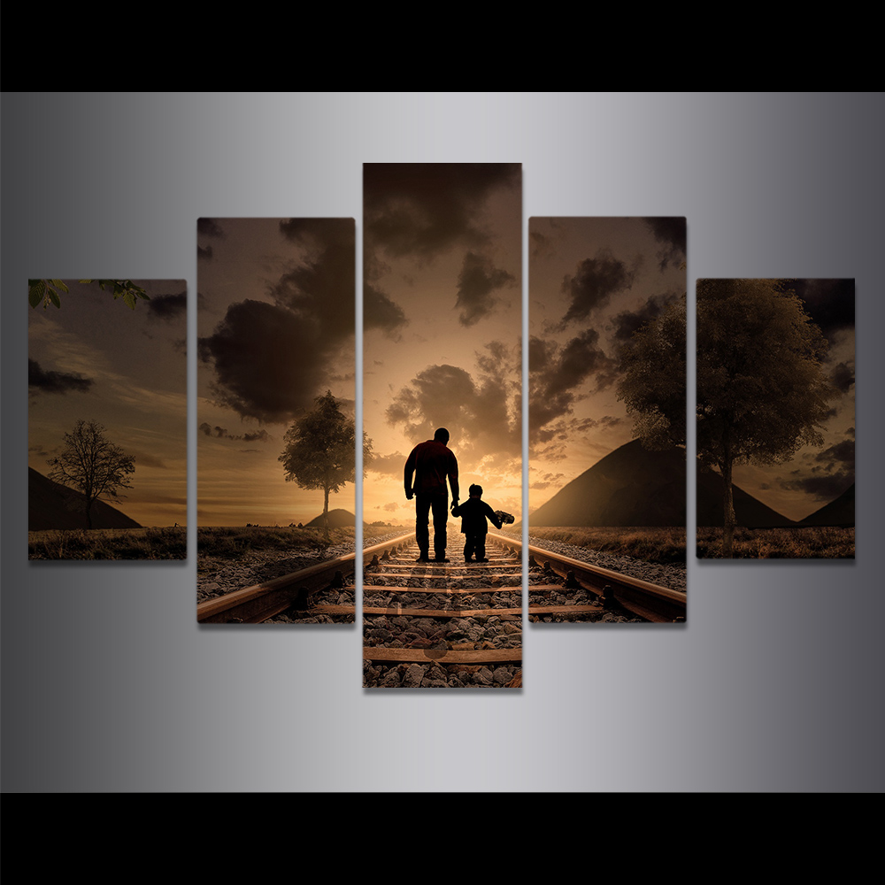 Unframed Canvas Painting Dark Desolate Rail Father And Son Art Picture Prints Wall Picture For Living Room Wall Art Decoration
