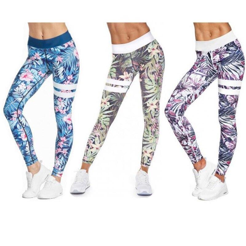 Calças de Yoga para Mulheres de Fitness Cintura Alta Esporte Leggings Listra Impressão Elástica Ginásio Workout Collants S-xl Correndo Lazer