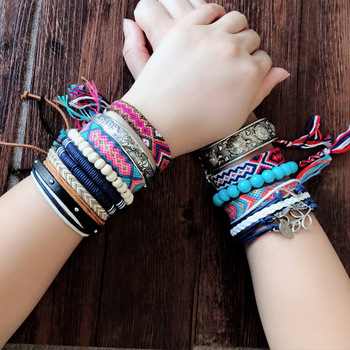 Bohemian Weave Cotton Charms Bracelet Girl Brazilian Weave Rope String Handmade Bracelets for Women Drop Shipping 1