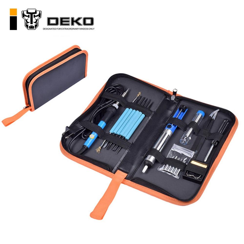 DEKO 220V  Adjustable Temperature Electric Soldering Iron Kit Welding Repair Tool EU Plug Сварка