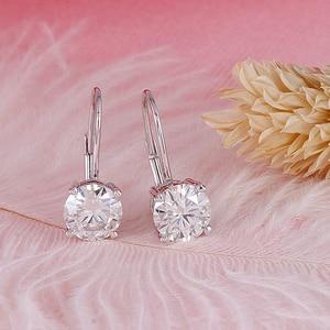 Image 3 - Transgems 14K 585 White Gold 2ct 6.5mm Color Clear Heart Arrows Cut Moissanite Hoop Earring for Women Gold Moissanite Jewelry