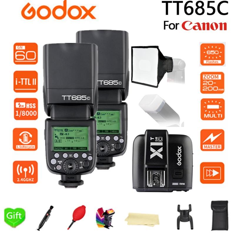 2pcs Godox TT685 TT685C 2.4G Wireless TTL High-speed sync 1/8000s GN60 Flash Speedlite + X1T-C Transmitter for Canon DSLR Camera godox tt685 tt685c 2 4g wireless hss 1 8000s ttl camera flash speedlite bowens s type bracket for canon dslr cameras