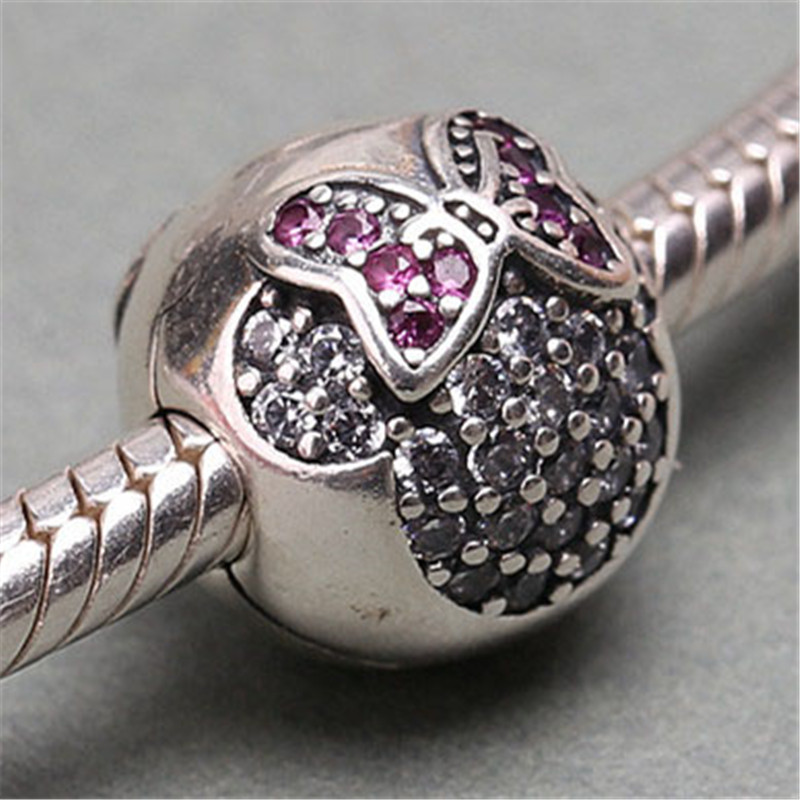 100 925 Sterling Silver Stopper Bead Spacer Minnie Pave Clip Charm Fit Original Pandora Bracelets Bangles Women DIY Jewelry in Beads from Jewelry Accessories