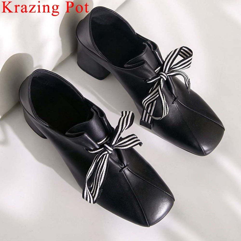 Mary Janes Large size genuine leather thick high heels classic square toe striped lace up pumps
