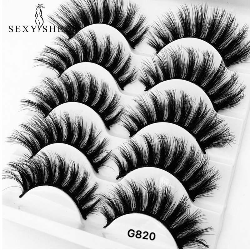 SEXYSHEEP 5 Pairs 3D Mink Hair False Eyelashes Thick Curled Full Strip Lashes Eyelash Extension Fashion Women Eyes Makeup