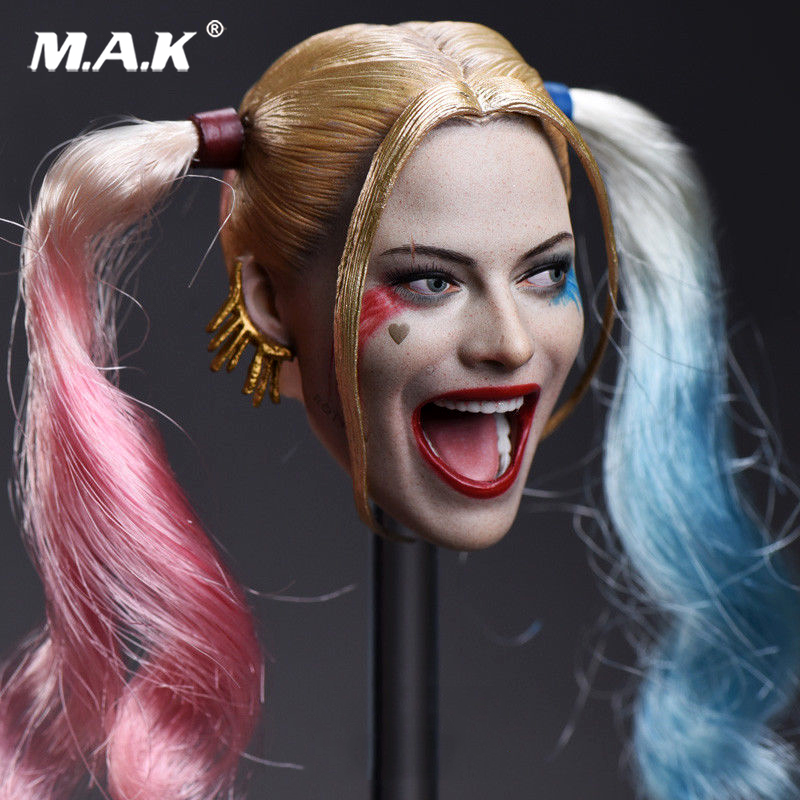 1/6 Headplay Figure Head Model Female Head Sculpt JX-012 Suicide Squad Joker Harley Quinn 2 Pair Hair 1/6 Head Sculpt Model 1 6 headplay figure head model brown long hair female head sculpt 12 action figure collection doll toys gift