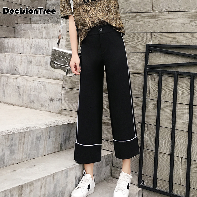2019 new women pants wide leg pants female trousers full length high waist loose fit drawstring three available 4