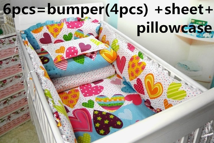 Promotion! 6PCS 100% Cotton Baby Cot Bedding Set Newborn Cartoon Crib Bedding Detachable ,include(bumper+sheet+pillow cover)