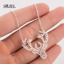SMJEL Deer Pendant Necklace Classic Vintage Statement Necklace Exquisite Choker Animals Necklace Popular Jewelry Friend Gift(China)