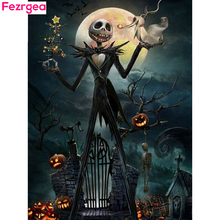 Fezrgea Diamond Embroidery Halloween Painting Skull With Diamonds Picture Of Rhinestones Mosaic Pumpkin