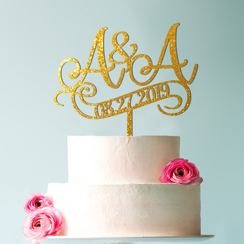 Wedding cake topper,  initials topper wedding, letter, rustic wedding Glitter