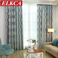 Blue Wave Simple Modern Curtains For Living Room Window Curtains For The Bedroom Geometric Curtains For