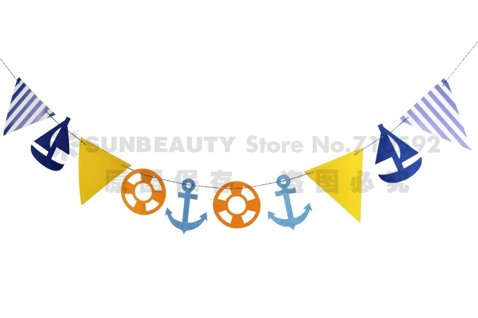 Marine Style Paper Flags String Baby Boy Nursery Photo Prop Nautical Nursery Baby Shower Birthday Party Daily Home Fresh Decor in Party DIY Decorations from Home Garden