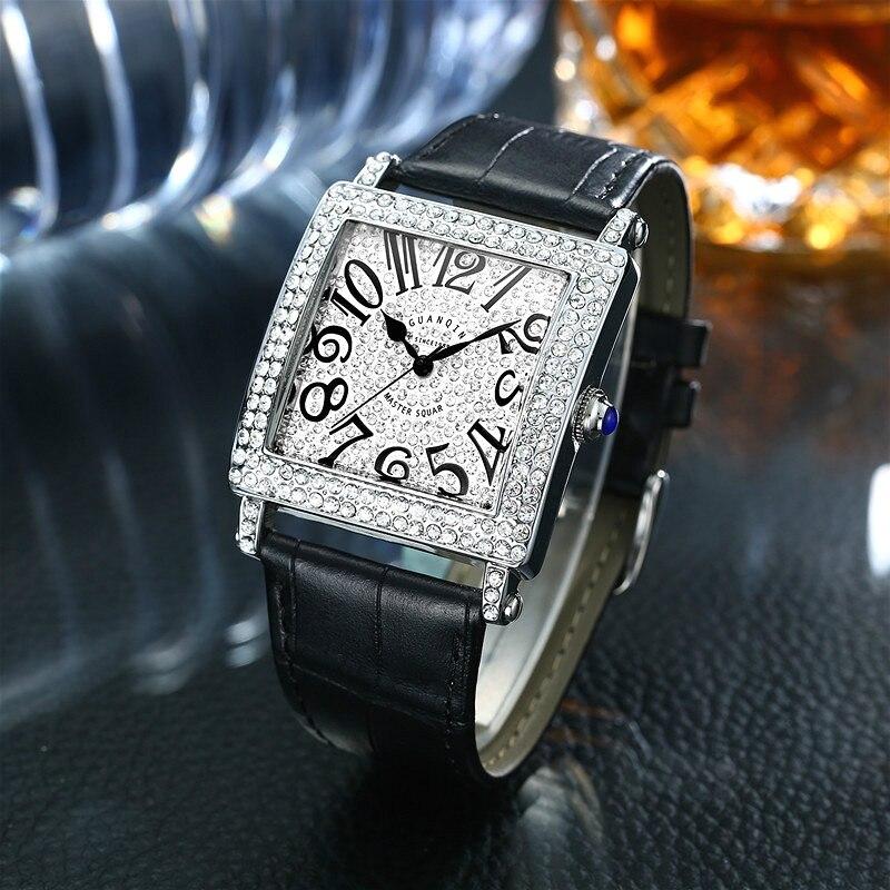 Square Watch Leather Watchband Zircon Digital Dial Waterproof Quartz WatchSquare Watch Leather Watchband Zircon Digital Dial Waterproof Quartz Watch