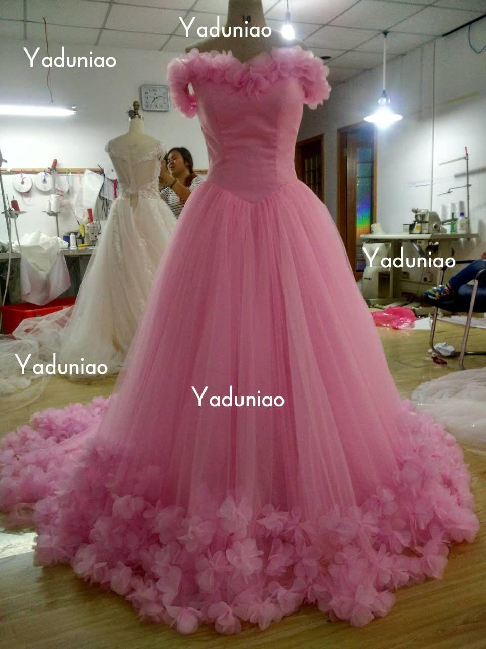 Flores De Color Rosa Vestidos De Quinceanera Grande Cultivan Larga