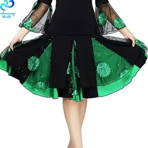 Image 5 - Ladies Ballroom Dance Skirt Women Modern Standard Waltz Performance Skirt Stage Latin Salsa Rumba Elastic Waistband #2625 1